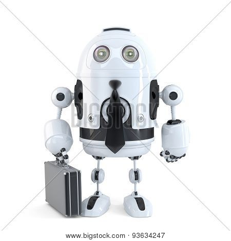 Robot with suitcase. Business technology concept. Isolated over white. 3D illustration. Isolated. Contains clipping path