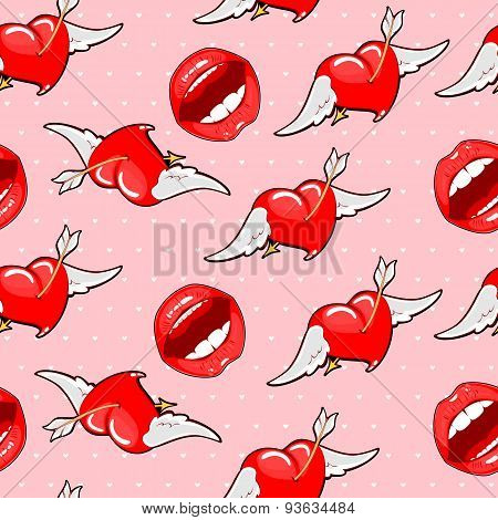 Vector Illustration  Pink Seamless Background Bright Lips With