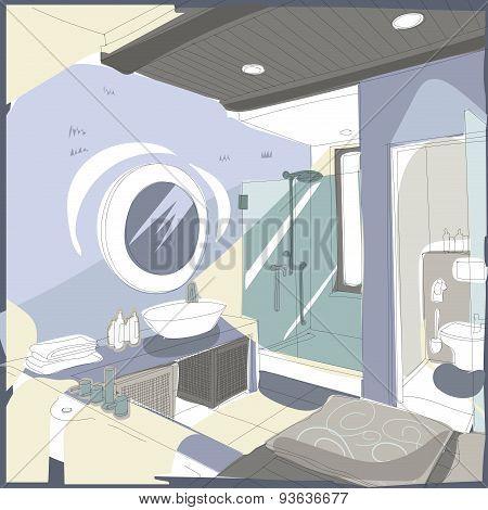 Contemporary interior bathroom doodles in fusion style.