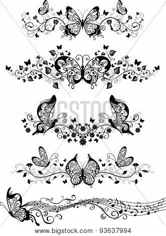 Floral Patterns With Butterflies.