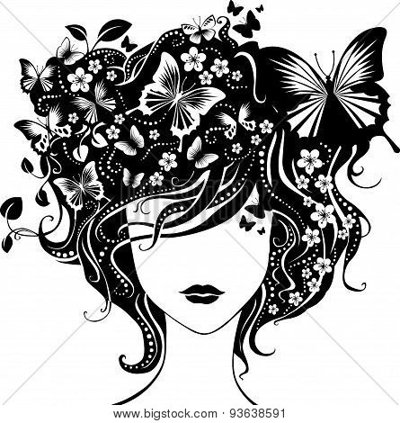 Abstract Girl With Butterflies In Hair.