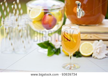 Peach lemonade on the drink station