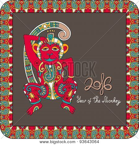 original design for new year celebration with decorative ape and inscription - 2016 Year of The Monkey - on square frame ornament with red and brown color background, vector illustration poster