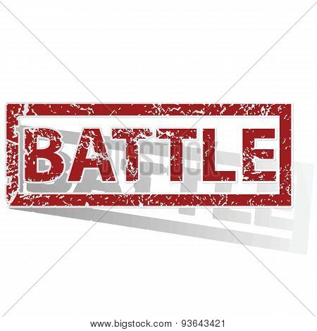 Outlined red stamp with word BATTLE, with shadow poster