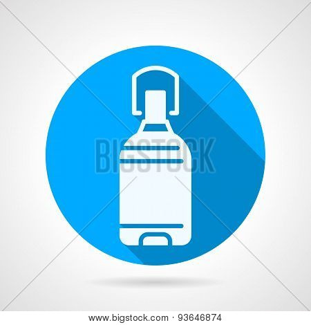 Bottle of potable water blue round vector icon