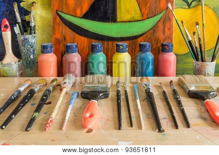Colors and paintings in a Atelier in Hamburg Altona