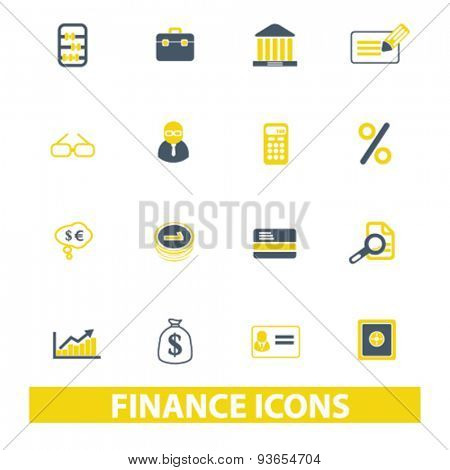 finance, bank, investment icons, signs, illustrations set, vector