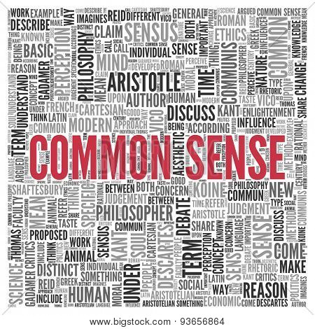 Close up COMMON SENSE Text at the Center of Word Tag Cloud on White Background.