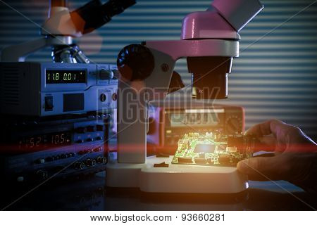 control microelectronic device in a laboratory microscope poster