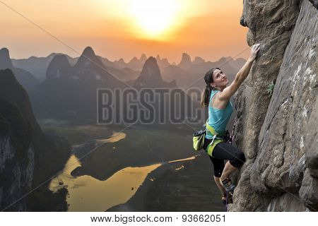 Female climber in China