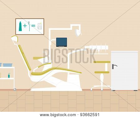 View of the design office dentist. Vector illustration