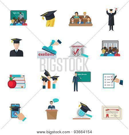 Higher education icons set