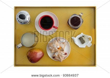 High Angle View of Breakfast Tray for Two with Tea Coffee Pastries and an Apple Spread Out for Enjoyment poster