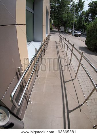 Ramp For Physically Challenged From The Tiled Pavement