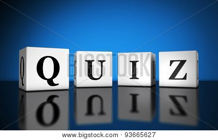 Website and Internet concept with quiz word sign on cubes with reflection and blue background for web and online business. poster
