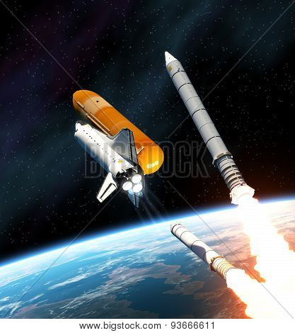 Space Shuttle Solid Rocket Busters Detached