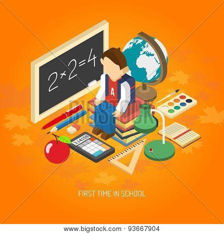 School isometric concept poster