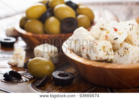 Cubed feta cheese with olives