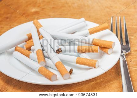 Cigarettes On A Plate