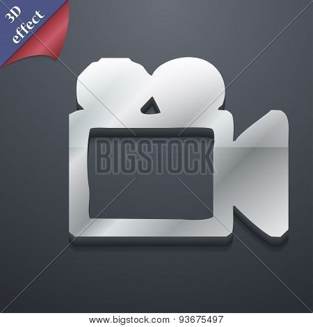 Camcorder Icon Symbol. 3D Style. Trendy, Modern Design With Space For Your Text, Vector