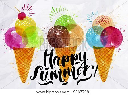Watercolor ice cream cones