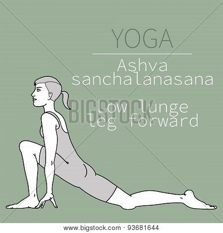 ashva sanchalanasan t, Low lunge left leg forward