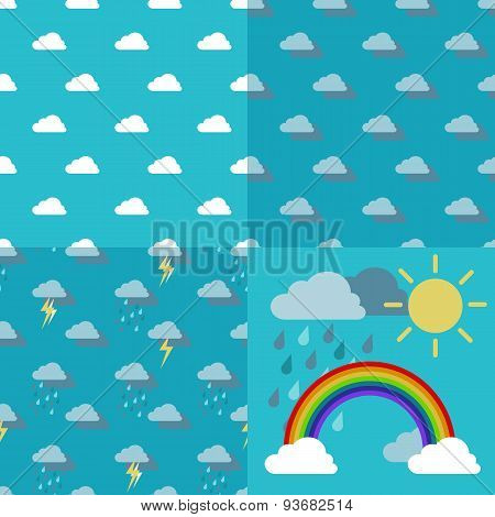 Sky With Clouds, Rain, Sun And A Rainbow Arc Vector