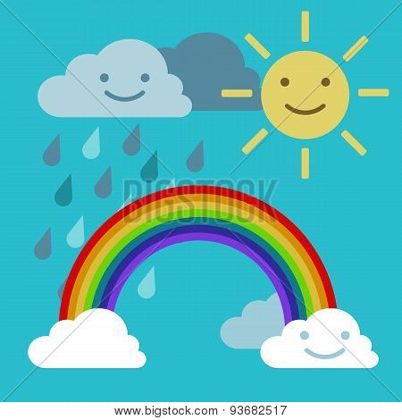 Objects Rainbow Iris Arch, Sun And Rainclouds Vector