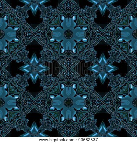 Abstract Metallic Blue Viking Or Celtic Like Pattern Made Seamless