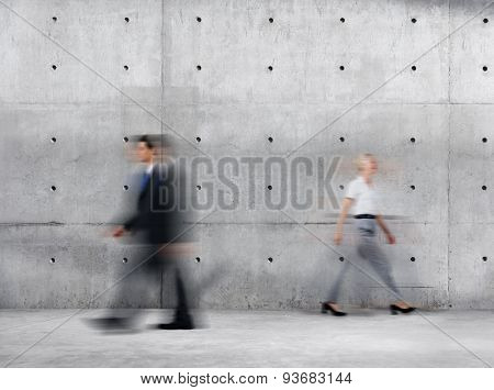 Business People Walking Blurred Motion Sparse Empty Concept