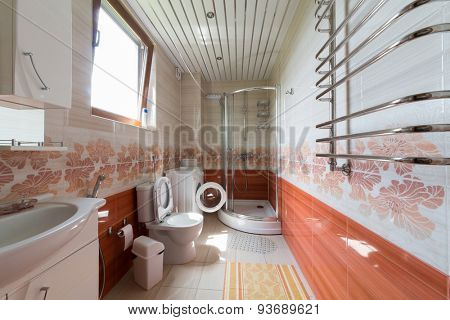 ADLER, RUSSIA - JULY 21, 2014: Interior bathroom of a hotel room in El Paraiso hotel