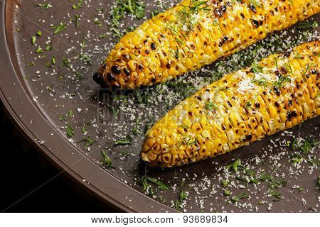 Grilled sweetcorn with butter salt and Parmesan