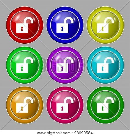 Open Lock Icon Sign. Symbol On Nine Round Colourful Buttons. Vector