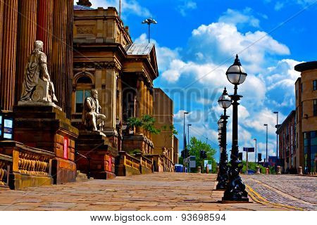Historic Buildings In William Brown St Liverpool Uk Digatally Painted