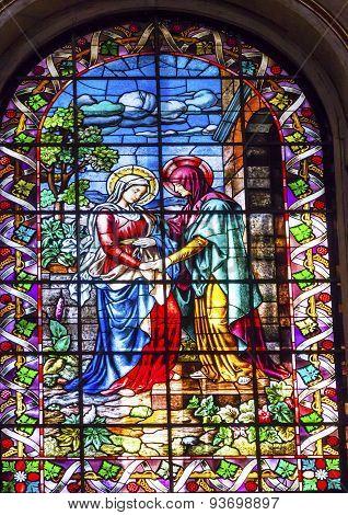 Visitation Mary Elizabeth Stained Glass San Francisco El Grande Royal Basilica Madrid Spain
