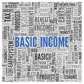 Close up BASIC INCOME Text at the Center of Word Tag Cloud on White Background. poster