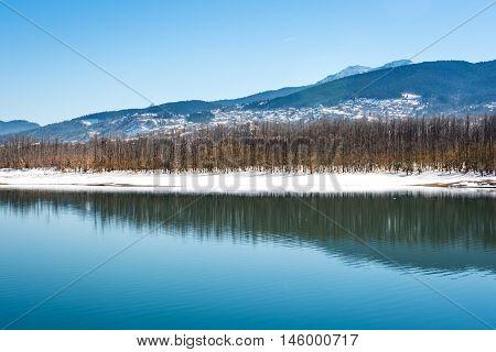 Lake Plastira on winter. Greece. Symmetric composition