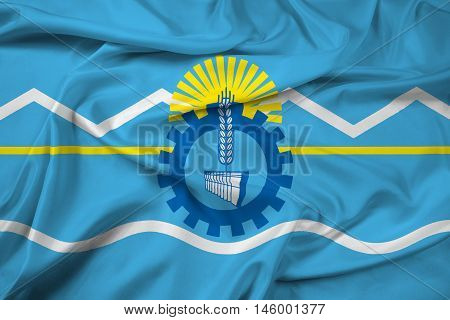 Waving Flag of Chubut Province Argentina, with beautiful satin background. 3D illustration