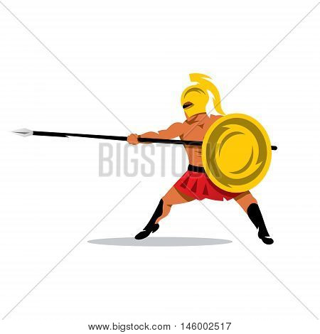 Spartan fighter with spear and shield. Isolated on a white background