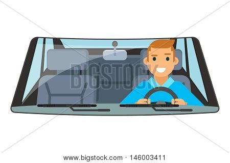 Vehicle interior driver car wheel ride driving isolated flat vector illustration