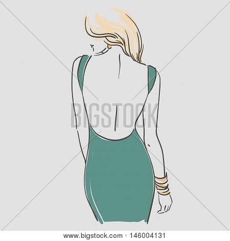 Beautiful Young Women With Long Blonde Hair In A Fashion Evening  Dress. Vector Illustration