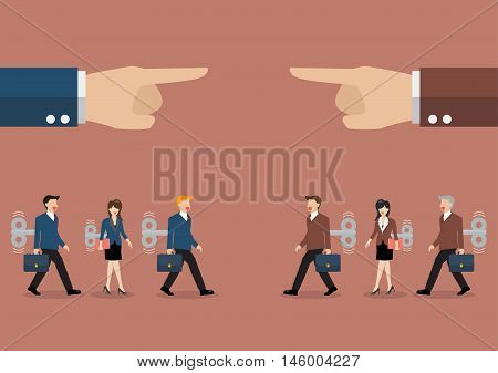 Mechanical business men and women was controlled by big hand. Business competition concept