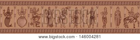 Vector design of Vintage statue of different avatara of Indian Lord Dashavatara of Vishnu sculpture engraved on stone