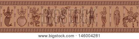 Vector design of Vintage statue of different avatara of Indian Lord Dashavatara of Vishnu sculpture engraved on stone poster