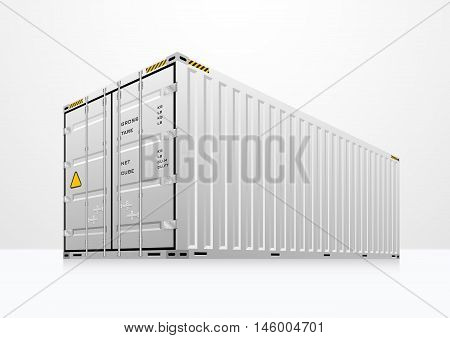 Vector of cargo container in white room.