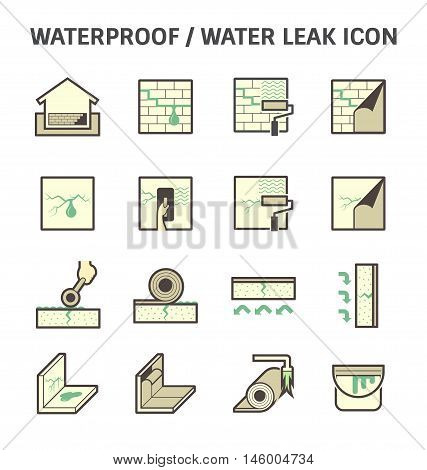 Waterproofing and water leaked vector icon sets design.