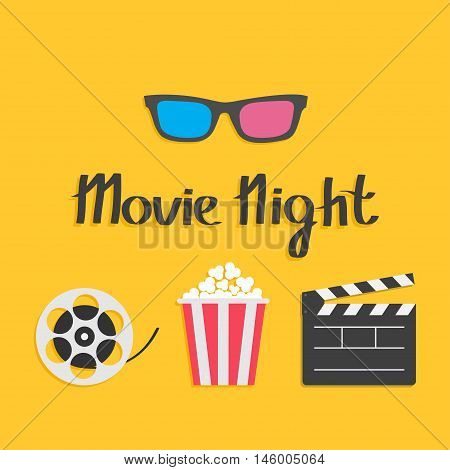 3D glasses Movie reel Open clapper board Popcorn Cinema icon set. Flat design style. Yellow background. Movie night text. Vector illustration