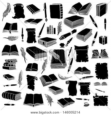 Set of silhouettes books and pens. Isolated on white background. Vector