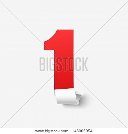 Number one isolated on white background. Abstract vector illustration.