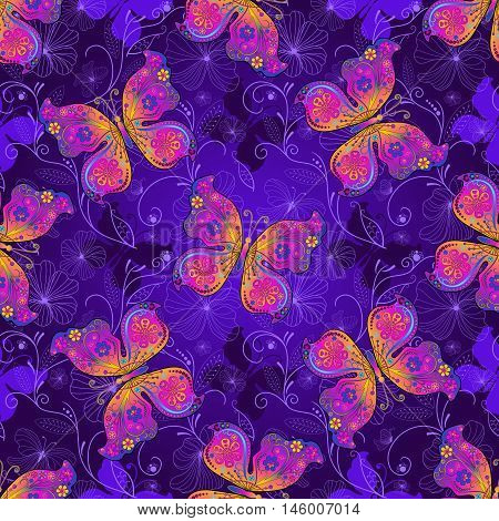 Seamless spring dark violet pattern with colorful butterflies and flowers (vector)
